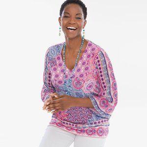 Chico's Tops - Chicos Tile Kimono-Sleeve Top Colorful V-Neck